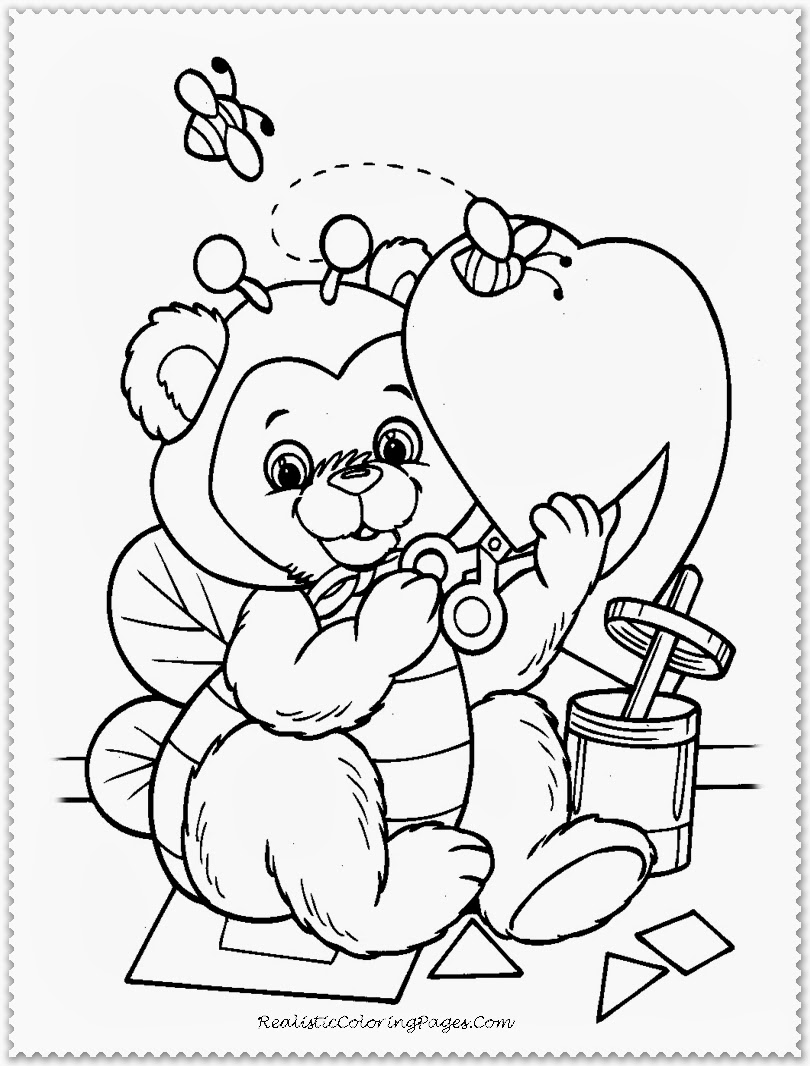 Happy Valentine Cartoon Coloring Pages
