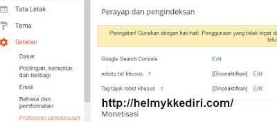 Kembalikan robot txt secara default