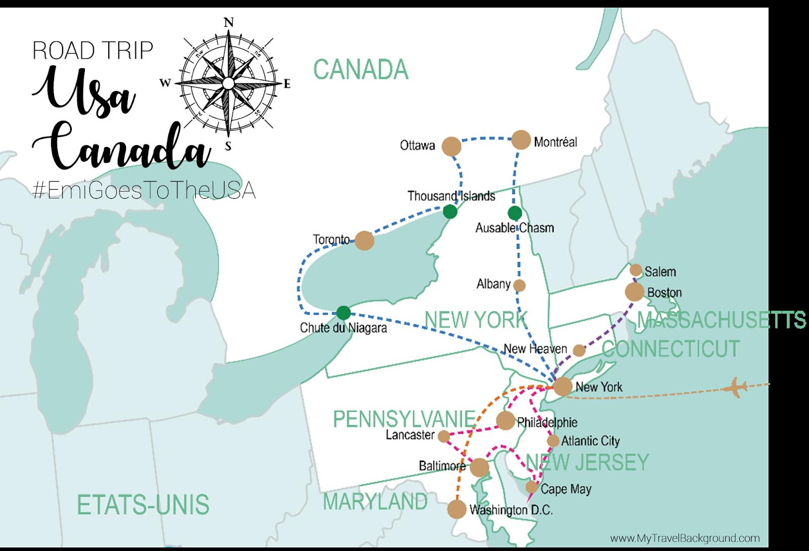 My Travel Background : mon road trip sur la côté Est des Etats-Unis et du Canada - USA - Itinéraire