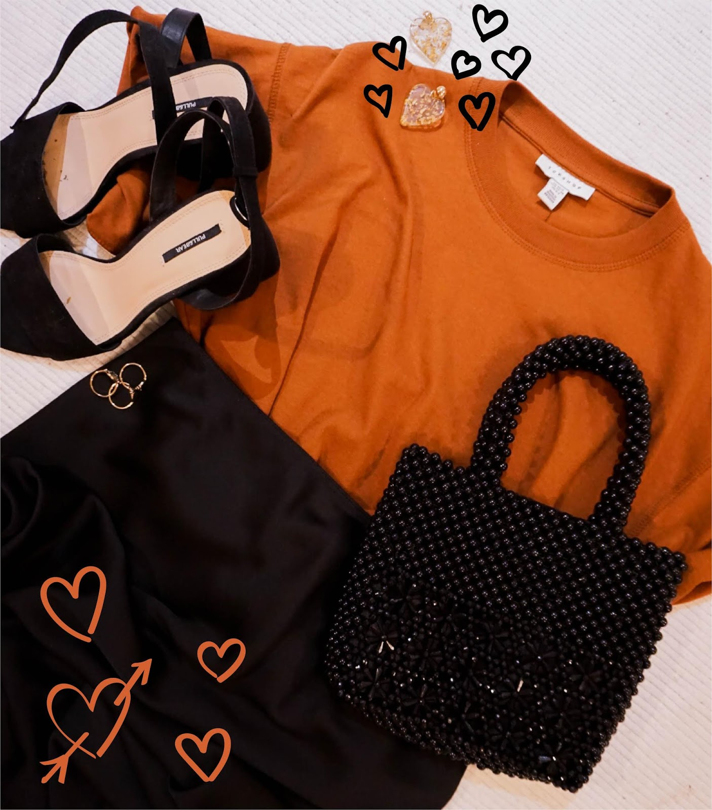 valentines day date outfit flat lay