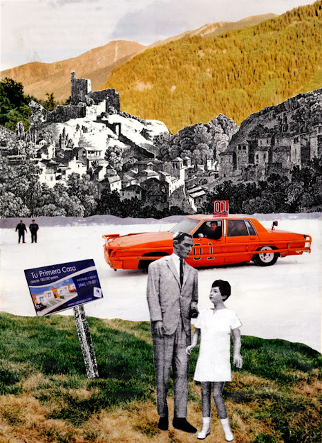 hand cut paper collage