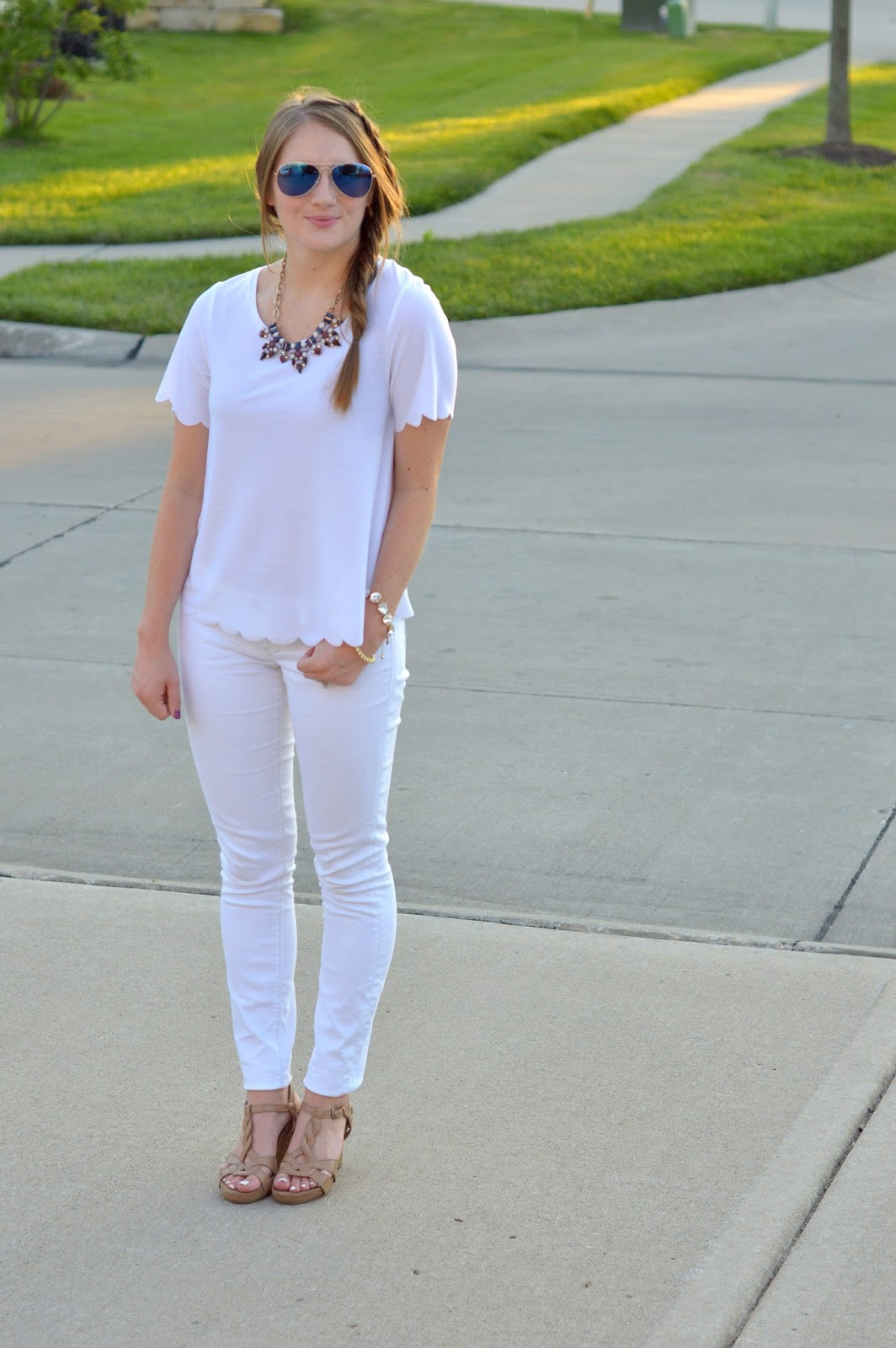 white top with white jeans