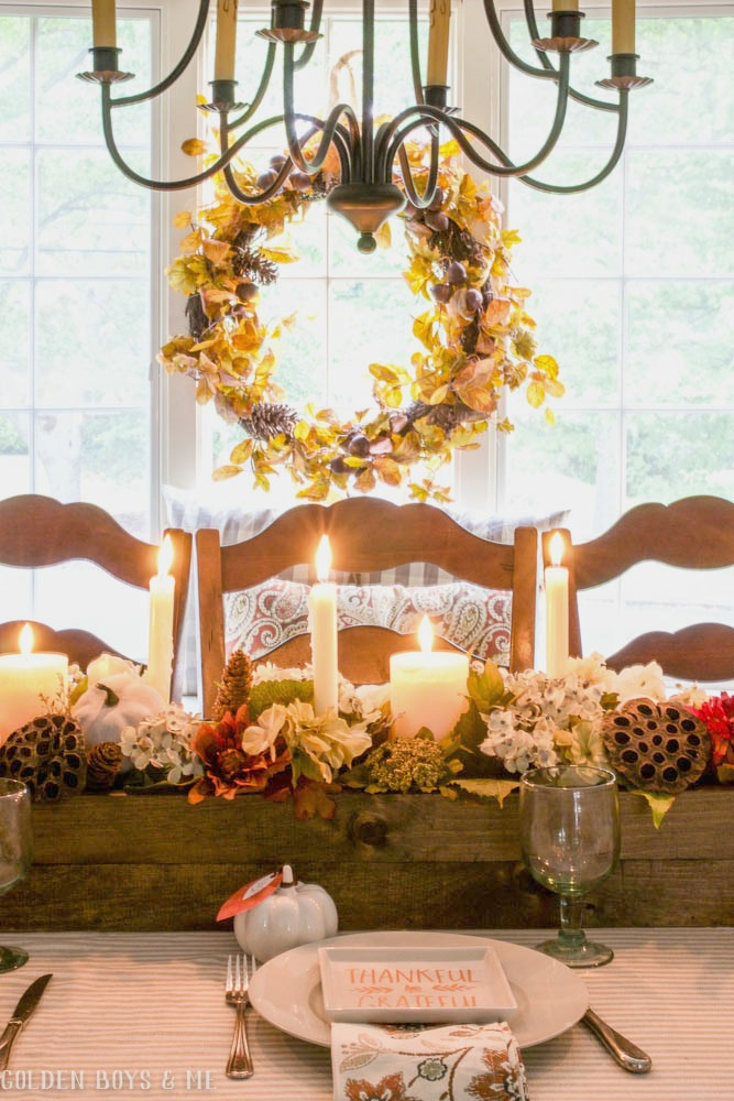 DIY rustic wooden centerpiece in fall dining room