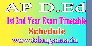 AP D.Ed 1st, 2nd Year Exam Time Table 2016 Online Exams Schedule