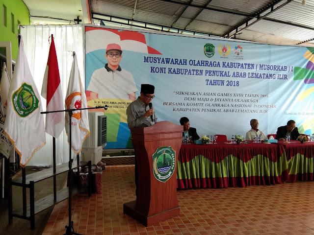 Terpilih Secara Aklamsi Heri Kembali Pimpin KONI Kabupaten PALI
