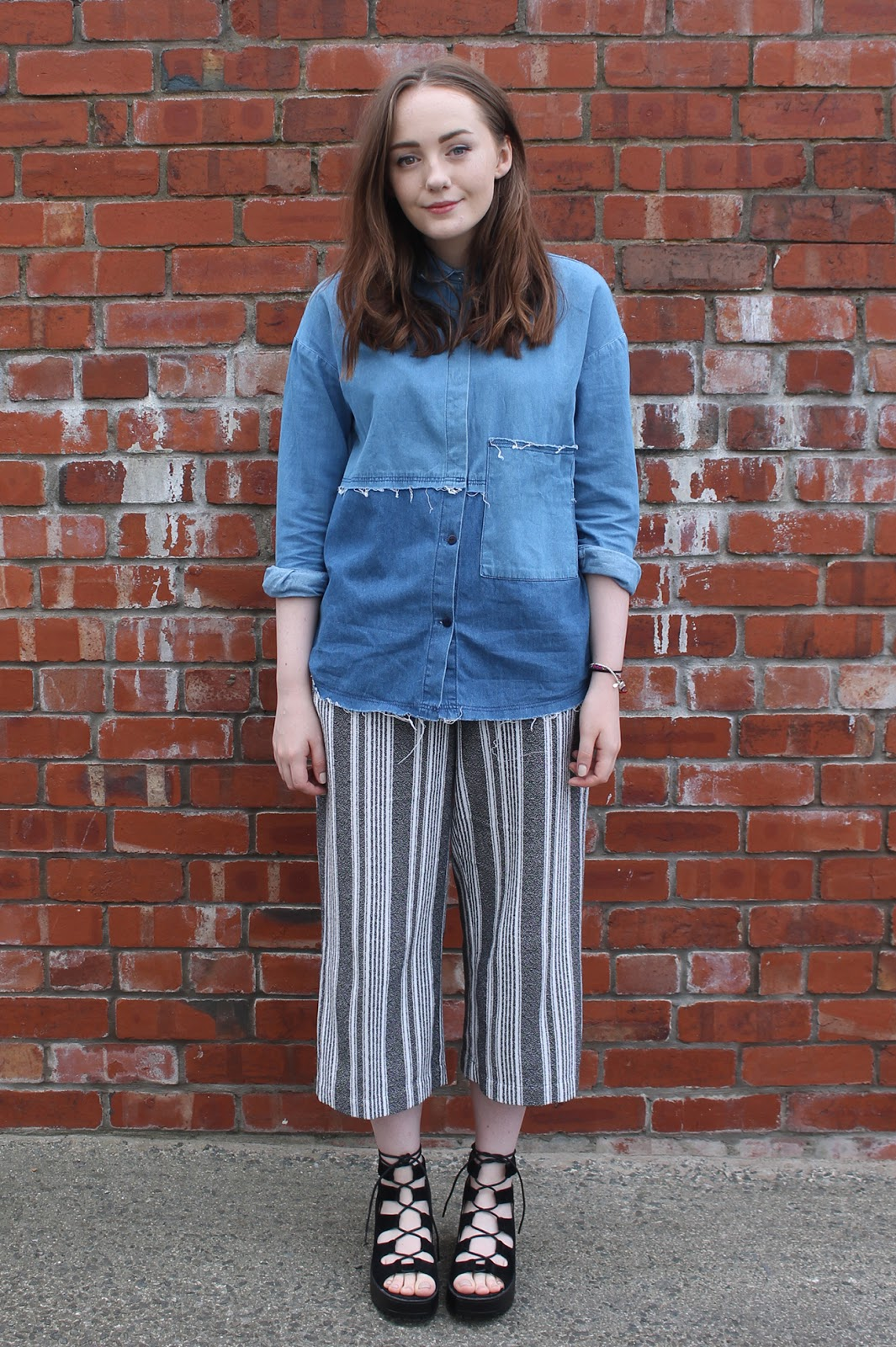 Raw edge Zara denim shirt, Topshop striped culottes, black lace up sandals, blogger outfit
