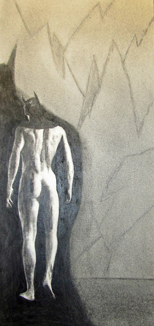 The Batman, Brooding. c.2016 by F. Lennox Campello. Charcoal on Paper