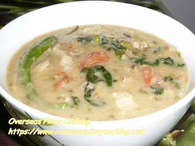 Ginataang Munggo, Mung Bean Soup with Coconut Cream Dish