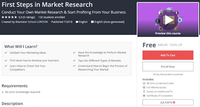[100% Off] First Steps in Market Research| Worth 49,99$