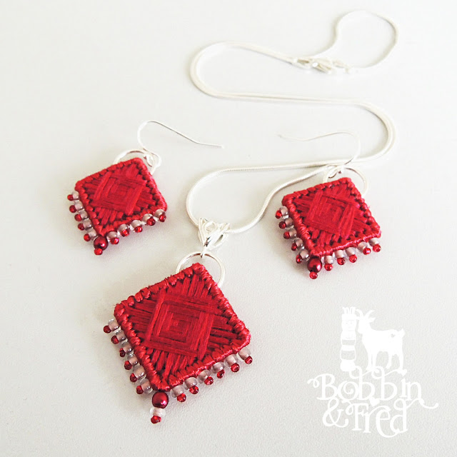 Red needlepoint necklace and earrings set