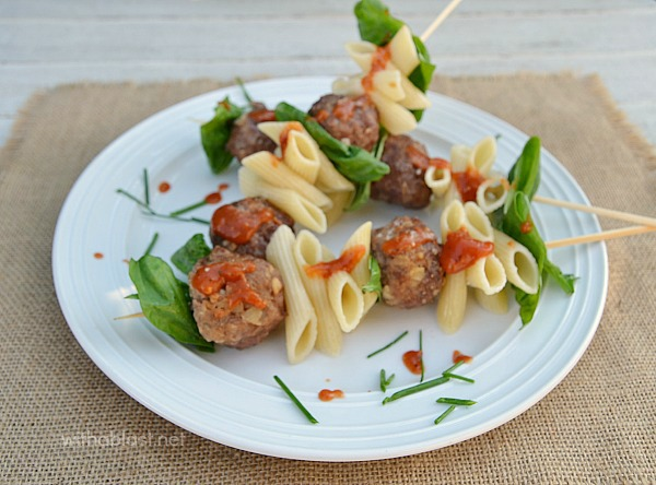 Serve these FUN Italian Meatball and Pasta Sticks for dinner, with veggies or salad on the side, or serve as an Appetizer