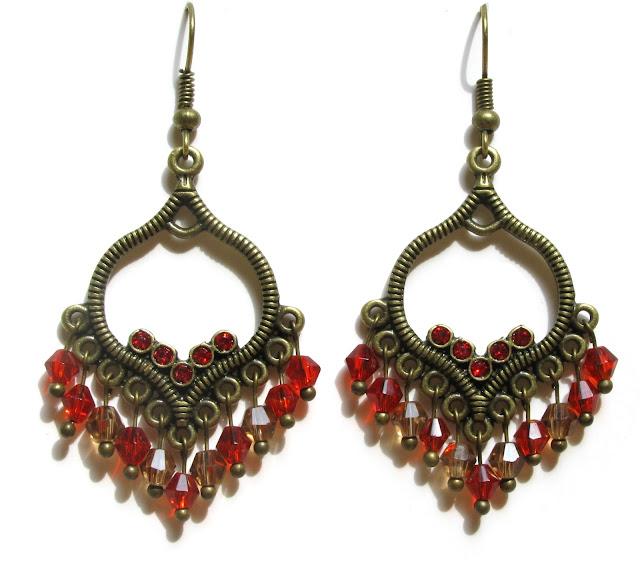 Rode Bohemian oorbellen