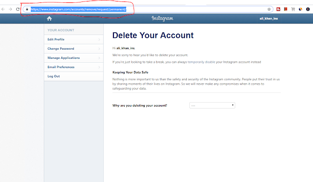 how.to delete an instagram account