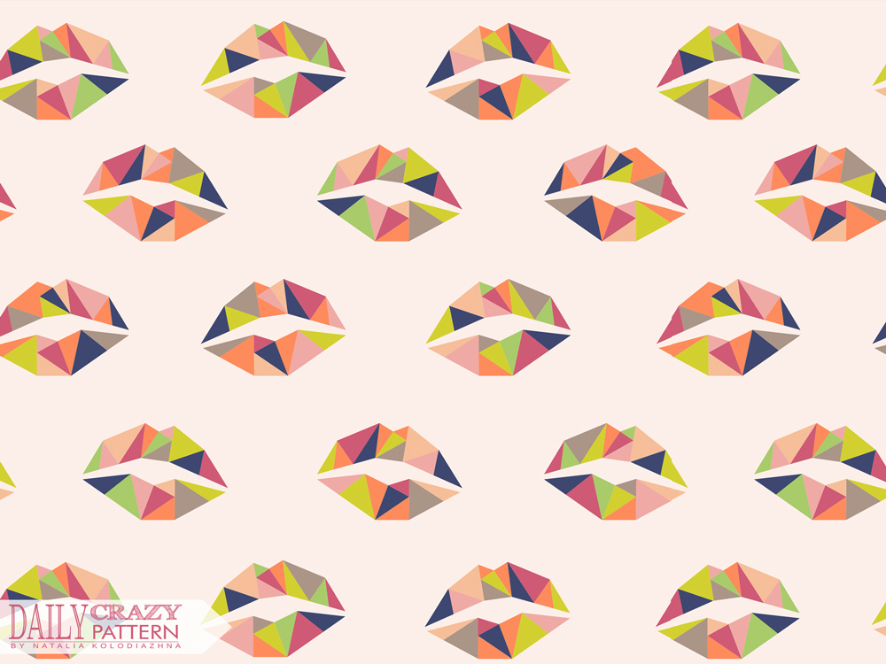 "Art print with geometric lips for ""Daily Crazy Pattern"" project"