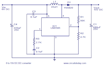 6 to 15 Volt DC Converter Circuit Schematic Diagram