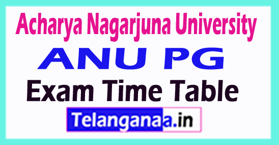 Acharya Nagarjuna University ANU PG Exam Time Table