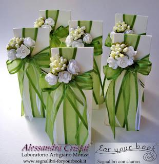 bomboniere nastro verde segnalibri matrimonio compleanno comunione
