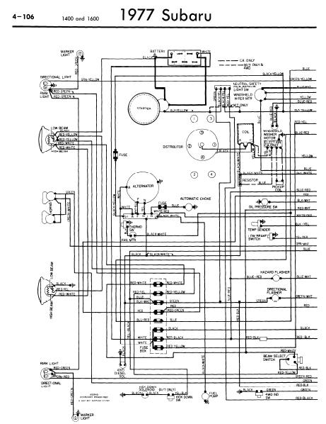 repair-manuals: Subaru 1400 1600 1977 Wiring Diagrams