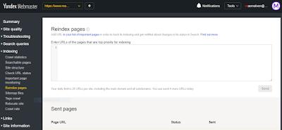 submit artikel di yandex webmaster tools
