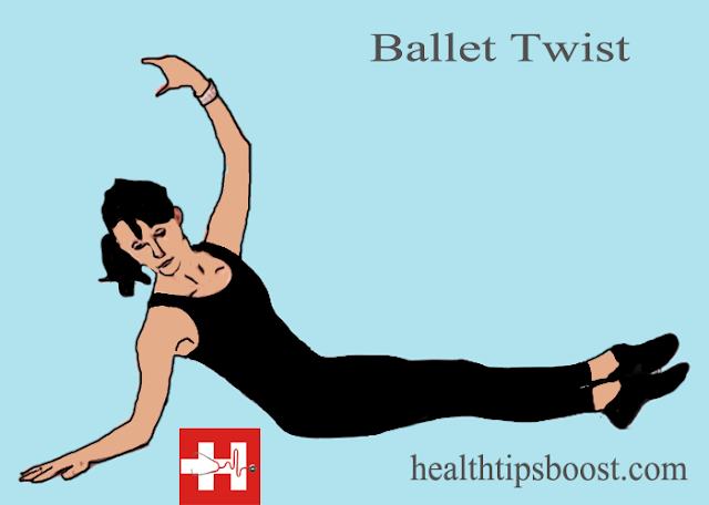 The ballet twist abs workouts builds abdominal muscles while mimicking a common position. Visit healthtipsboost.com for more