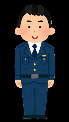 警察官のイラスト(男性・制帽なし・若者)