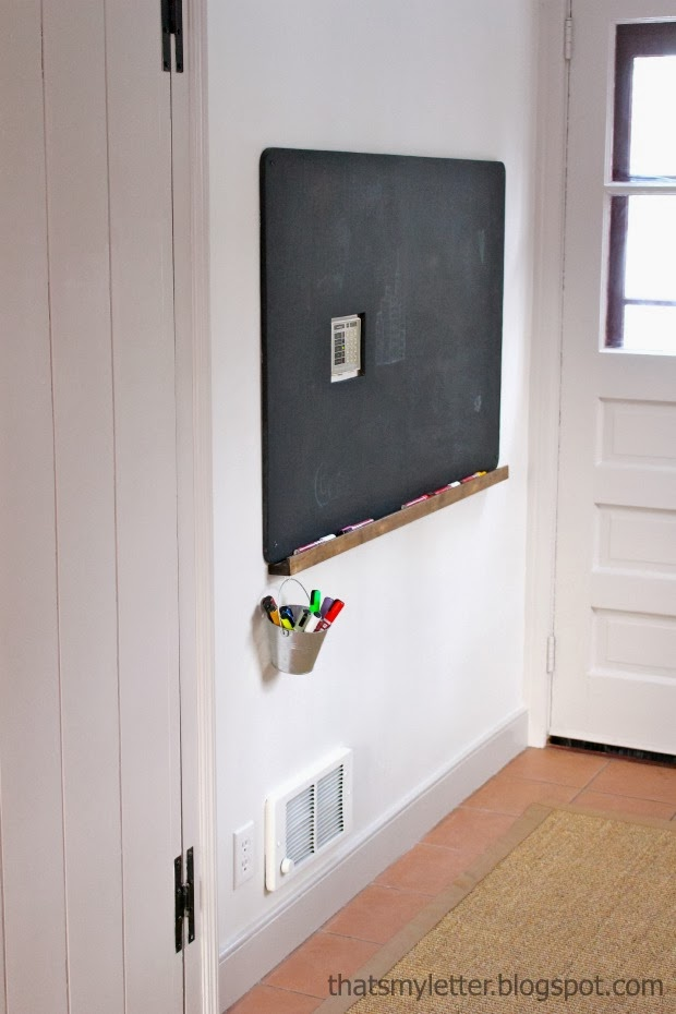 chalkboard in mudroom entry