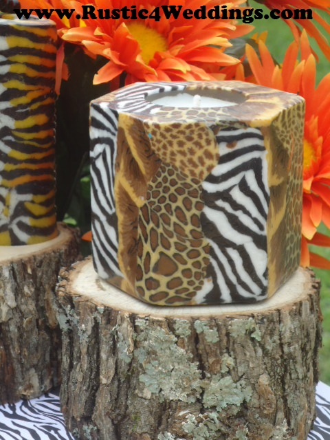 Rustic Safari Wedding Candle Stands And Holders Zebra