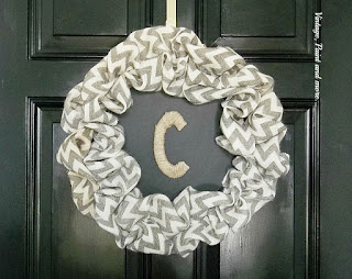 Vintage, Paint and more... fall wreath made with a dollar store tray and chevron burlap ribbon
