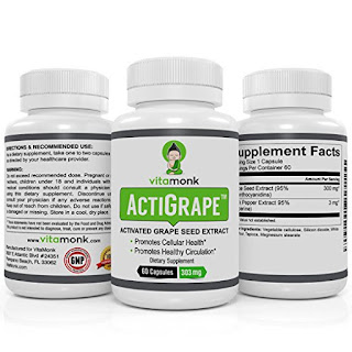ActiGrape™ - ACTIVATED Grape Seed Extract 300mg Capsules by VitaMonk - Grape Seed Extract with Bioperine - Healthy Blood Circulation - Antioxidant and Circulation Booster - 60 GSE Capsules