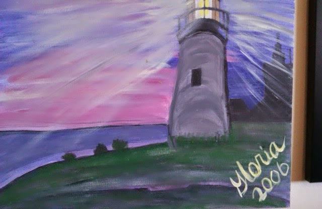 Lighthouse oil painting by Gloria Poole; yr 2006