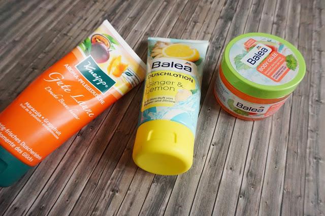 Kneipp - Aroma Pflegedusche Gute Laune     Balea - Duschlotion Ginger & Lemon     Balea - Body Gelée