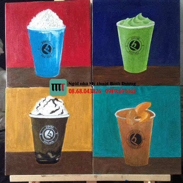 Tu ve tranh don gian de trang tri quan cafe