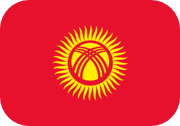 Rounded flag of Kyrgyzstan