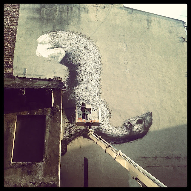 Street Artist ROA Working on a New Mural in Lodz, Poland for Fundacja Urban Forms.