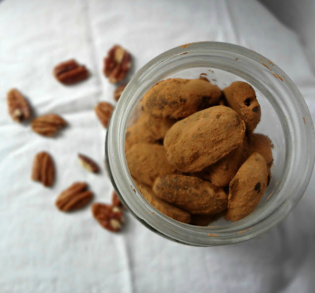 Dark Chocolate Peanut Butter Pecan Truffles