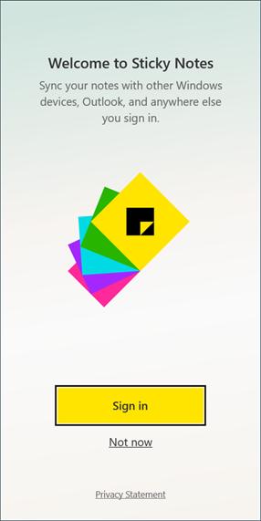 تسجيل الدخول والخروج من Sticky Notes فى تحديث الويندوز