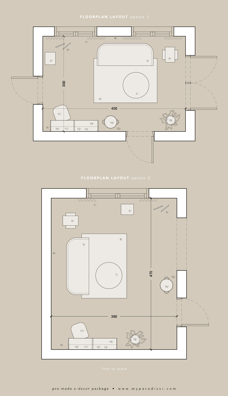 Pre-made e-decor package: Neutral palette living room with home office. Floorplan by Eleni Psyllaki for My Paradissi
