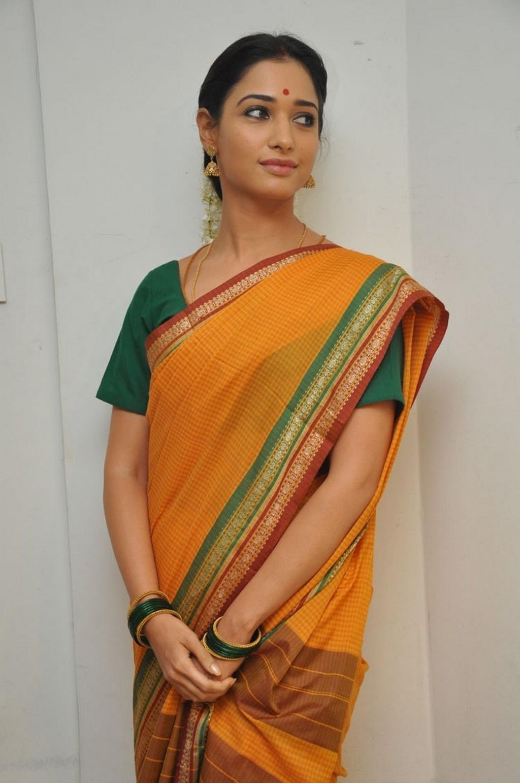 Telugu Actress Tamannaah In Traditional Yellow Saree