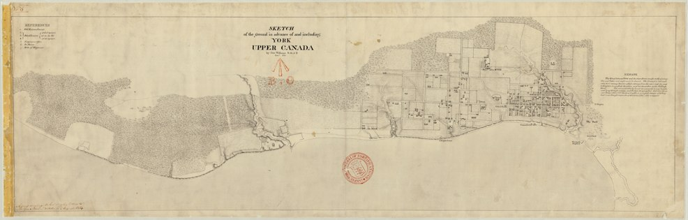 Map: 1813 Williams Sketch of the ground in advance of and including York Upper Canada