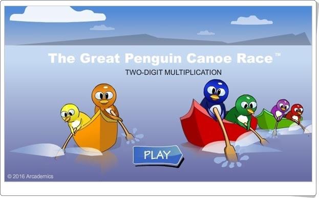 """""""La gran carrera de canoas de pingüinos"""" (Juego de Multiplicación de 3º y 4º de Primaria)"""