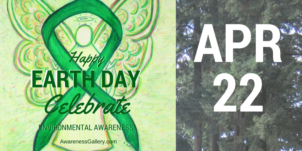 Twitter Happy Earth Day Celebrate Environmental Green Awareness Ribbon APR 22 Guardian Angel Painting