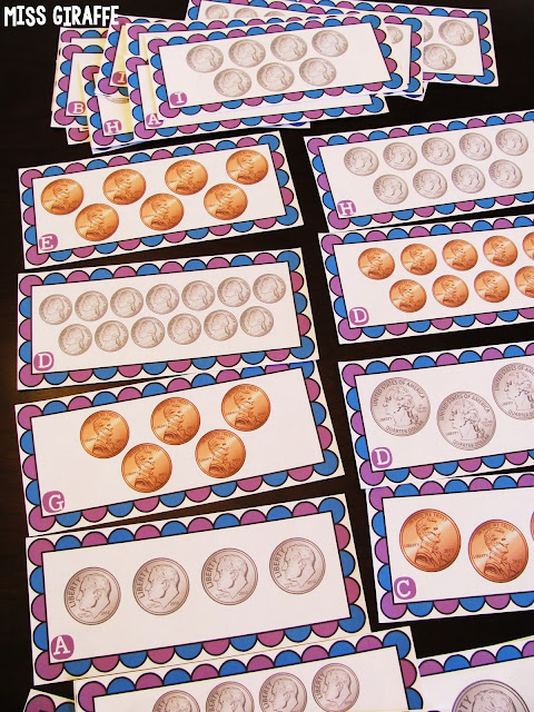 Counting coins first grade math centers that are differentiated and fun so they could also be used in kindergarten and 2nd grade for kids to practice counting pennies nickels dimes and quarters