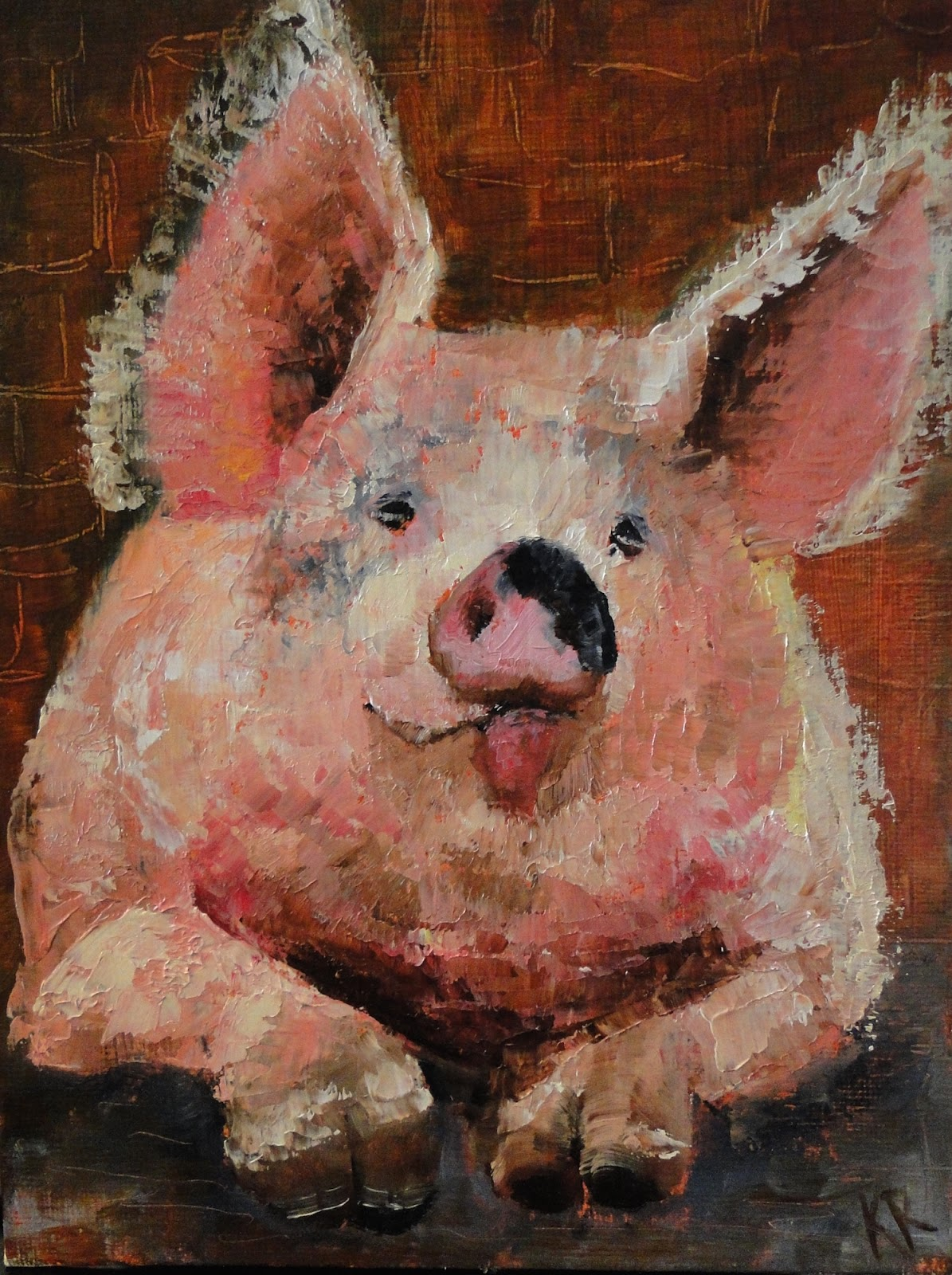Pucker Up, a palette knife oil painting, a pink pig, Miss Piggy for Valentine's Day