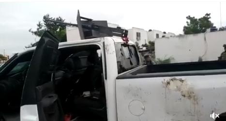 VIDEO; Camioneta del CDG utilizada por sicarios tras enfrentamientos en Tamaulipas artillada con claibre .50  hasta los dientes