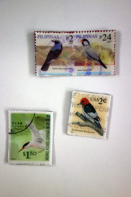 postage stamps turned into magnets, turn postage stamps to magnets, DIY magnets, blah to TADA!