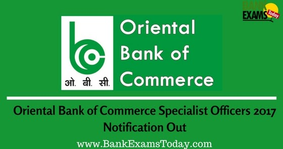 Oriental Bank Of Commerce Specialist Officers 2017