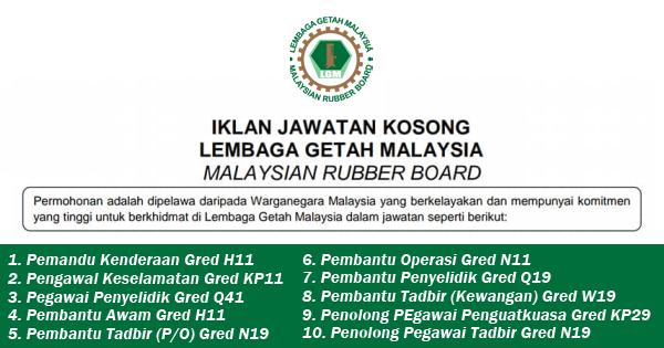 jawatan kosong 2019 lembaga getah malaysia