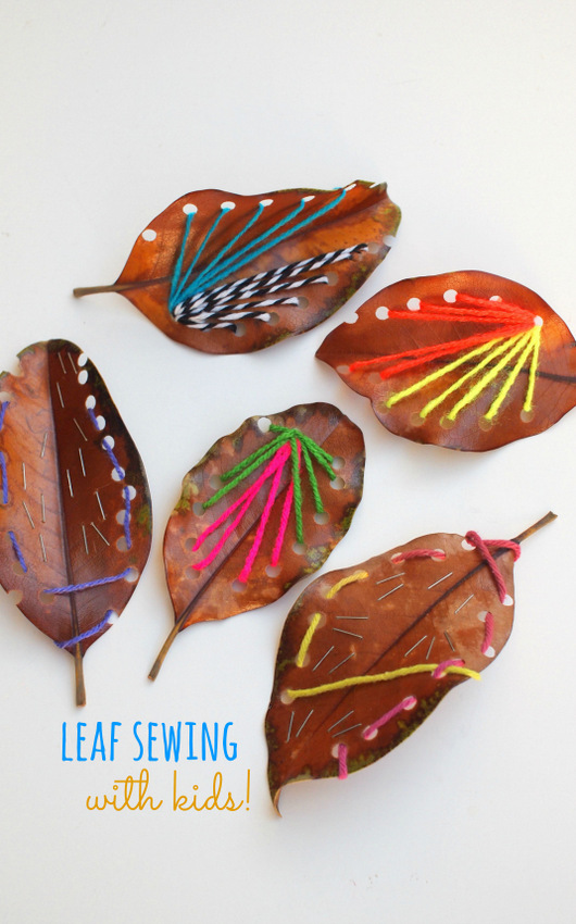How to Sew on Leaves with Kids- Easy and beautiful yarn art!