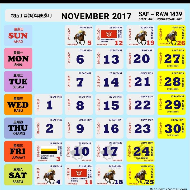Kalendar Kuda 2017 Malaysia november 2017