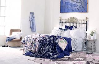 habitación color blanco azul